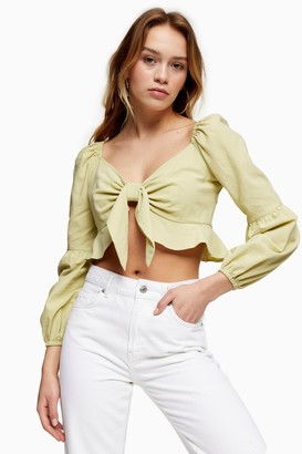 Topshop Womens Petite Lime Green Textured Knot Front Frill Blouse - Lime
