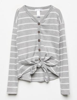 WHITE FAWN Stripe Button & Tie Front Blush Girls Thermal