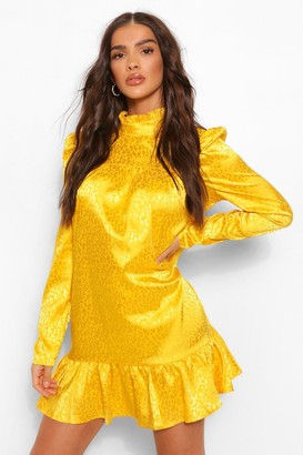 boohoo Tonal Animal Satin Puff Sleeve Smock Dress