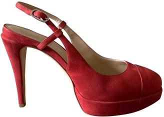 Chanel Red Suede Heels