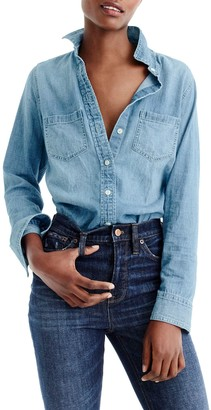 J.Crew Long Sleeve Button Front Chambray Shirt
