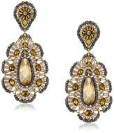 Miguel Ases Bronze CZ Rondelle Embroidered Drop Earrings