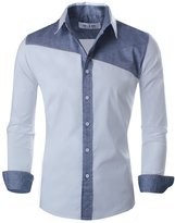 Tom's Ware Mens Basic Slim Fit Two-tone Color Retro Long sleeve Shirt TWKS07-US XS/S( ASIAN M)