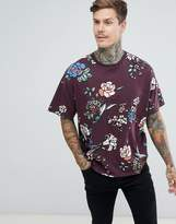 Asos Design DESIGN oversized t-shirt with all over floral print