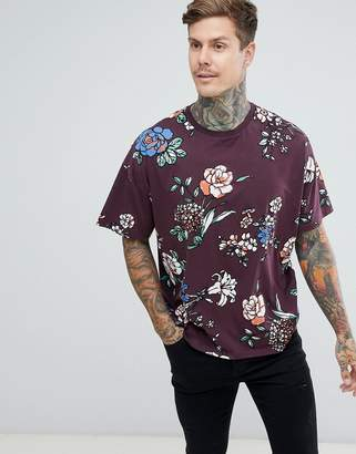 Asos Design DESIGN oversized t-shirt with all over floral print-Purple