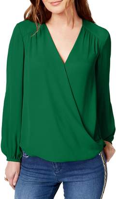 INC International Concepts Long-Sleeve Wrap Top