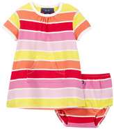 Toobydoo Sun Stripe Kangaroo Pocket Dress (Baby & Toddler Girls)