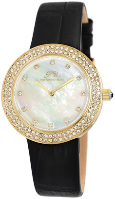 Women's Larissa Crystal Leather Strap Watch, 35mm