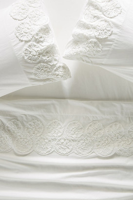 Anthropologie Embellished Floriana Percale Sheet Set By in White Size TWN XL SHT
