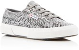 Superga Coated Snake-Print Lace Up Sneakers