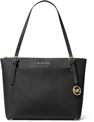 Michael Kors Women's Totebags Black - Black & Goldtone Voyager Leather Tote