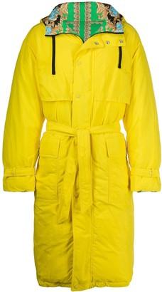Versace Hooded Belted Raincoat