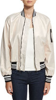 Hudson Gene Metallic Puffy Bomber Jacket, White