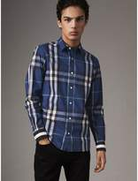 Burberry Striped Cuff Check Cotton Blend Shirt , Size: Xxxl, Blue