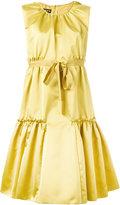 Rochas pleated trim flared dress - women - Silk/Polyester - 40