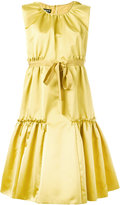 Rochas pleated trim flared dress - women - Silk/Polyester - 42