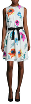 Oscar de la Renta Silk Floral Print Shift Dress