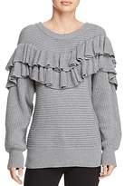 d.RA Merriam Ribbed-Knit Ruffled Sweater