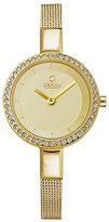 Obaku Ladies' Stone Set Yellow Gold Plate Mesh Watch