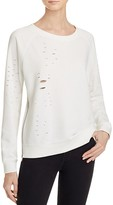 Aqua Distressed Zip Sweatshirt