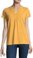 ST. JOHN'S BAY St. John's Bay Short Sleeve V Neck T-Shirt-Womens Petites