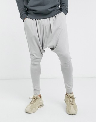 ASOS DESIGN lightweight extreme drop crotch joggers in light grey