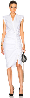 Veronica Beard Ruched Shirt Dress in White | FWRD