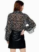 Topshop Star Ruffle Blouse - Monochrome