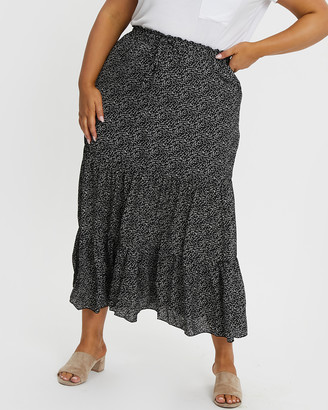 You & All Geo Print Tiered Maxi Skirt