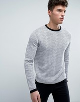 Jack and Jones Core Sweater in Marl Stripe With Ringer Details