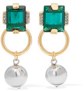 Marni Gold And Silver-tone Crystal Earrings - Green
