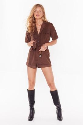 Nasty GalNasty Gal Womens Work In Progress Utility Belted Playsuit - Brown - 12, Brown