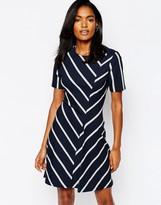 Whistles A-Line Mini Dress in Chevron Stripe