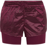 adidas by Stella McCartney Run Layered Climalite Shell And Jersey Shorts - Merlot