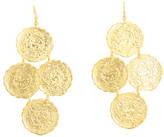 Kenneth Jay Lane - Four Small Satin Gold Curve Coin Drop Earrings