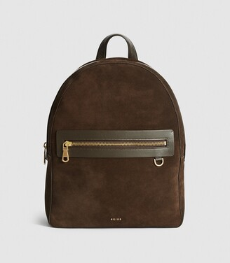 Reiss Ethan - Suede Backpack in Brown