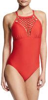 Athena Cabana Solids Avisa One-Piece Swimsuit, Persimmon