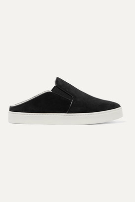 Vince Garvey Shearling-lined Suede Sneakers - Black