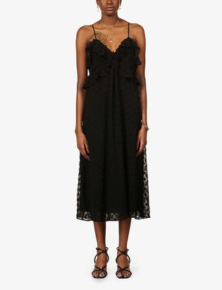 Zimmermann Circle-applique ruffle-trimmed crepe midi dress