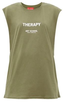 Art School - Therapy-print Cotton-jersey Tank Top - Khaki White