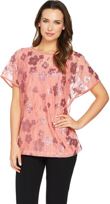 Bob Mackie Sequin Blossom Top and Knit Tank Set