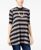 Amy Byer Juniors' Striped Mock-Neck Tunic Top