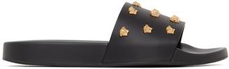 Versace Black Leather Medusa Stud Sandals