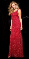 Scala Sequin V-Back Sheath Prom Dress