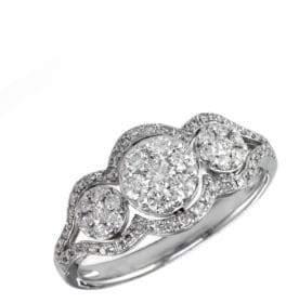 Effy Diamond And 14K White Gold Three Circle Ring, 0.63 TCW