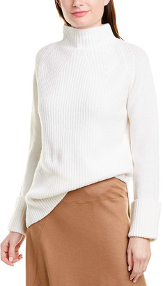 Vince Mixed Stitch Funnel Neck Wool Sweater