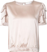 Anine Bing frill sleeves top - women - Silk - S