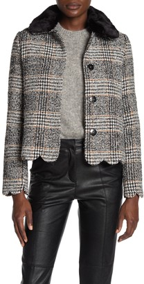 DOLCE CABO Plaid Faux Fur Collared Jacket