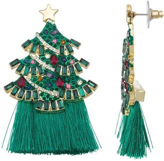 Simulated Stone Christmas Tree & Tassel Drop Earrings