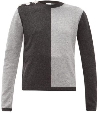 Ganni Crystal-button Cashmere Sweater - Womens - Grey Multi